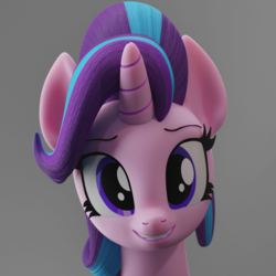 Size: 1500x1500 | Tagged: safe, artist:galawaille, starlight glimmer, pony, unicorn, 3d, blender, bust, cute, female, glimmerbetes, looking at you, mare, portrait, simple background, smiling, solo, teeth