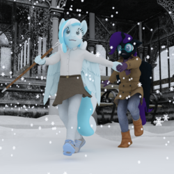 Size: 1500x1500 | Tagged: safe, artist:tahublade7, oc, oc only, oc:nyx, oc:snowdrop, alicorn, pegasus, anthro, plantigrade anthro, 3d, alicorn oc, anthro oc, bench, blind, boots, building, cane, clothes, coat, cute, daz studio, denim, duo, female, filly, glasses, gloves, holding hands, jeans, pants, pantyhose, shoes, skirt, skirt lift, sneakers, snow, snowfall, snowflake, walking