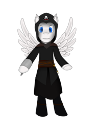 Size: 1024x1331 | Tagged: artist:recordmelodie, assassin, assassin's creed, hidden blade, oc, oc only, oc:silent strike, pegasus, pony, safe, simple background, transparent background