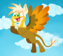 Size: 941x841 | Tagged: safe, artist:alittleofsomething, oc, oc only, oc:ember burd, griffon, cloud, commission, eared griffon, excited, flying, griffon oc, happy, lineless, male, solo