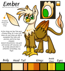 Size: 1280x1408 | Tagged: safe, artist:alittleofsomething, oc, oc only, oc:ember burd, griffon, commission, eared griffon, griffon oc, male, reference sheet, solo, standing
