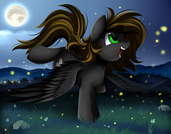 Size: 2486x1950   Tagged: safe, artist:pridark, oc, oc only, firefly (insect), pony, commission, cute, full moon, grass field, green eyes, moon, night, open mouth, scenery, solo, stars