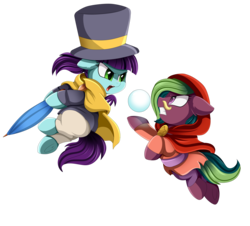 Size: 3882x3509   Tagged: safe, artist:pridark, oc, oc only, oc:solare, pony, a hat in time, clothes, commission, cosplay, costume, female, fight, filly, hat kid, looking at each other, mustache girl, ponified, simple background, snow, snowball, transparent background