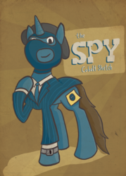 Size: 612x857 | Tagged: abstract background, artist:cobaltsketch, balaclava, beret, blazer, clothes, costume, hat, invis watch, obscured cutie mark, oc, oc:cobalt sketch, oc only, pony, pony fortress 2, safe, solo, spy, sticky note, suit, team fortress 2, video game
