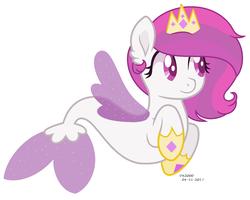 Size: 1556x1244 | Tagged: safe, artist:katja060902, oc, oc only, pony, seapony (g4), my little pony: the movie, magical lesbian spawn, offspring, parent:princess celestia, parent:queen novo, parents:novolestia, simple background, solo, white background