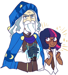 Size: 492x540   Tagged: safe, artist:mimimonlon, star swirl the bearded, twilight sparkle, human, shadow play, beard, clothes, dark skin, facial hair, fangirl, glasses, hat, humanized, magic, simple background, smiling, wizard, wizard hat