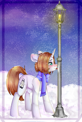 Size: 2694x4000 | Tagged: safe, artist:darksteel, oc, oc:light landstrider, pony, unicorn, absurd resolution, blushing, clothes, green eyes, lamppost, long mane, male, night, scarf, silly, silly pony, snow, snowfall, snowflake, solo, stallion, stuck, tongue out, tongue stuck to pole, winter