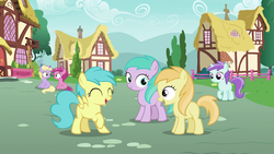 Size: 1920x1080 | Tagged: safe, screencap, aura (character), dinky hooves, liza doolots, noi, petunia, rainy feather, ruby pinch, tootsie flute, earth pony, pegasus, pony, unicorn, secrets and pies, background pony, eyes closed, female, filly, laughing, open mouth, raised leg, sitting, smiling, spread wings, wings