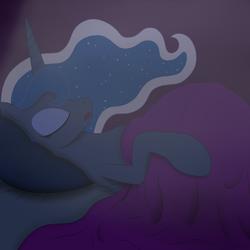 Size: 2000x2000 | Tagged: safe, artist:20thx5150, princess luna, alicorn, pony, bed, bedroom, belly, blanket, ethereal mane, female, huge belly, mare, pillow, pregluna, pregnant, sleeping, solo