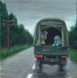 Size: 1200x1204   Tagged: safe, artist:sa1ntmax, bon bon, lyra heartstrings, sweetie drops, earth pony, pony, unicorn, acrylic painting, car, duo, hitchhiking, pony on earth, power line, road, smiling, traditional art, truck
