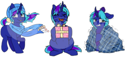 Size: 3828x1754 | Tagged: safe, artist:breioom, artist:cloureed, oc, oc only, unicorn, blanket, christmas, clothes, cold, holiday, male, present, scarf, single character, winter