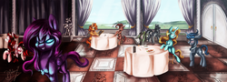 Size: 3000x1085 | Tagged: safe, artist:shivannie, oc, oc only, oc:april showers (3), oc:crimson lucine, oc:rose diamond, oc:vespidae, pegasus, pony, unicorn, clothes, eyes closed, food, indoors, menu, plate, restaurant, scenery, statue, table