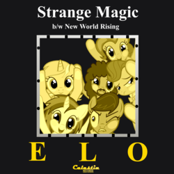 Size: 1200x1200 | Tagged: safe, artist:grapefruitface1, artist:ocarina0ftimelord, beauty brass, dj pon-3, lyra heartstrings, octavia melody, pinkie pie, vinyl scratch, oc, oc:electric light, earth pony, pony, unicorn, background pony, electric light orchestra, elo, equestria light orchestra, female, fourth wall pose, jeff lynne, male, mare, parody, ponified, ponified single cover, single cover, song reference, stallion, strange magic