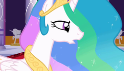 Size: 1280x738 | Tagged: safe, screencap, princess celestia, alicorn, the return of harmony, confused, pacing, statue, worried