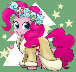 Size: 875x830 | Tagged: safe, artist:bojack_mlplove, pinkie pie, spirit of hearth's warming presents, pony, a hearth's warming tail, candy, clothes, cute, diapinkes, female, food, looking at you, mare, smiling, solo, stars