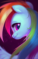 Size: 2060x3158 | Tagged: safe, artist:imalou, rainbow dash, pegasus, pony, bust, female, looking at you, looking back, looking back at you, mare, multicolored hair, smiling, solo