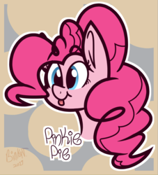 Size: 956x1055 | Tagged: safe, artist:binkyt11, derpibooru exclusive, part of a set, pinkie pie, earth pony, pony, :p, abstract background, female, mare, ponk, signature, silly, tongue out