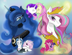 Size: 4263x3237 | Tagged: safe, artist:firimil, fancypants, fleur-de-lis, fluttershy, pinkie pie, princess celestia, princess luna, rarity, twilight sparkle, alicorn, earth pony, pegasus, pony, unicorn, fanfic:the folly of princesses, fancyfleur, fanfic, fanfic art, fanfic cover, female, flarity, lesbian, male, mare, pink-mane celestia, polyamory, shipping, stallion, straight, twilestia, twinkie, twinklestia pie