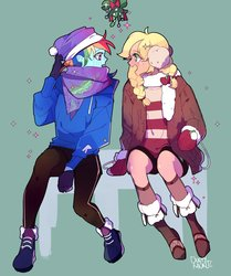 Size: 1100x1315   Tagged: safe, artist:dusty-munji, applejack, rainbow dash, human, appledash, boots, christmas, clothes, female, hat, holiday, holly, humanized, imminent kissing, lesbian, looking at each other, mistletoe, scarf, shipping, shoes, sparkles, sweater, winter