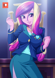 Size: 707x1000 | Tagged: safe, artist:uotapo, dean cadance, princess cadance, equestria girls, friendship games, adorasexy, breasts, busty princess cadance, clothes, cute, cutedance, eyeshadow, female, looking at you, makeup, moe, patreon, patreon logo, school, sexy, side slit, skirt, smiling, solo, tube skirt