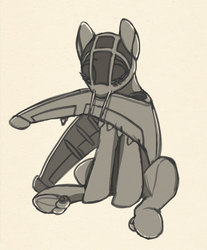Size: 1029x1242   Tagged: safe, artist:lunebat, original species, plane pony, pony, eyes closed, monochrome, plane, ponified, preening, sketch, solo, su-25 frogfoot