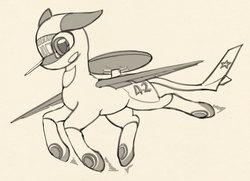 Size: 1929x1399   Tagged: safe, artist:lunebat, original species, plane pony, pony, a-50, awacs, female, mare, monochrome, plane, ponified, sketch