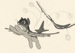Size: 1616x1138   Tagged: safe, artist:lunebat, original species, plane pony, pony, female, mare, monochrome, plane, ponified, running away, scared, sketch, su-25 frogfoot