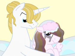 Size: 4096x3072 | Tagged: safe, artist:kindheart525, prince blueblood, oc, oc:angel, pegasus, pony, kindverse, alternate hairstyle, bath, father and daughter, female, hair bun, hair dye, makeup, male, missing accessory, next generation, offspring, parent:fleur-de-lis, parent:prince blueblood, parents:fleur-de-blueblood, running makeup, story included