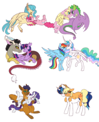Size: 2000x2475 | Tagged: safe, artist:saphi-boo, applejack, capper dapperpaws, discord, fluttershy, pinkie pie, princess celestia, princess skystar, rainbow dash, rarity, shining armor, spike, twilight sparkle, abyssinian, alicorn, classical hippogriff, dragon, hippogriff, anthro, digitigrade anthro, my little pony: the movie, alternate universe, blushing, capperity, crack shipping, dashlestia, discolight, female, flutterspike, kissing, lesbian, male, mane six, missing accessory, nuzzling, shiningjack, shipping, simple background, skypie, straight, transparent background, twilight sparkle (alicorn)