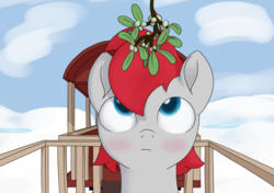 Size: 1537x1080 | Tagged: safe, artist:foal, train tracks (character), blushing, christmas, colt, holiday, male, mistletoe, train