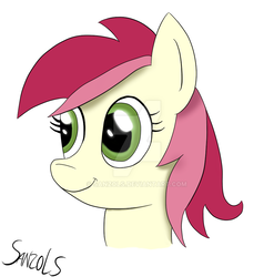 Size: 900x910 | Tagged: artist:sanzols, bust, earth pony, female, mare, pony, portrait, roseluck, safe, signature, simple background, smiling, solo, white background