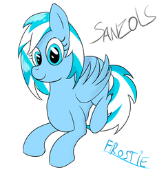 Size: 1600x1752 | Tagged: artist:sanzols, female, laying down, looking at you, mare, oc, oc:frostie, oc only, pegasus, pony, safe, signature, simple background, smiling, solo, white background