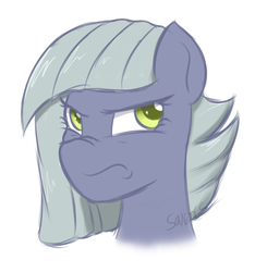 Size: 1004x1026 | Tagged: artist:sanzols, bust, colored pupils, earth pony, female, frown, glare, limestone pie, looking back, mare, pony, portrait, safe, signature, simple background, solo, white background