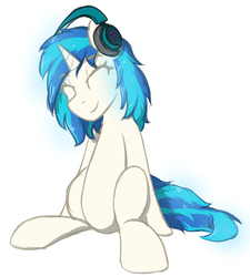Size: 1000x1109 | Tagged: artist:sanzols, dj pon-3, eyes closed, female, headphones, mare, pony, safe, signature, simple background, sitting, smiling, solo, unicorn, vinyl scratch, white background