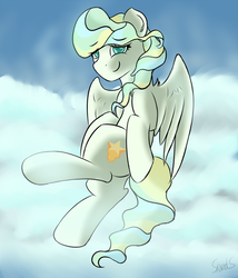 Size: 1024x1199 | Tagged: artist:sanzols, cloud, colored pupils, ear fluff, female, flying, mare, pegasus, pony, safe, signature, sky, smiling, solo, vapor trail