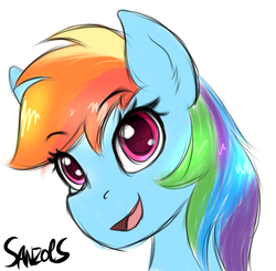 Size: 1024x1002 | Tagged: artist:sanzols, bust, colored pupils, female, mare, open mouth, pegasus, pony, portrait, rainbow dash, safe, signature, simple background, solo, white background