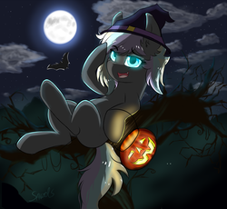 Size: 1556x1433 | Tagged: artist:sanzols, bat, colored pupils, ear fluff, earth pony, female, glowing eyes, halloween, hat, holiday, jack-o-lantern, mare, moon, night, oc, oc:ice trio, oc only, on back, open mouth, pony, pumpkin, pumpkin bucket, safe, signature, solo, witch hat