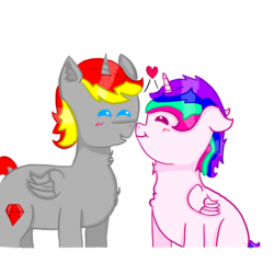 Size: 800x800 | Tagged: alicorn, alicorn oc, artist:holly dance, artist:rubydeluxe, blushing, boop, chest fluff, digital art, ear floof, female, heart, horn, love, male, nuzzling, oc, oc:holly dance, oc only, oc:rd, pony, rd x hd, safe, shipping, simple background, straight, transparent, transparent background, wings