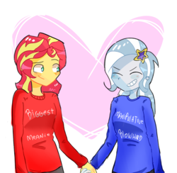 Size: 2609x2543 | Tagged: artist:noahther, clothes, equestria girls, female, holding hands, lesbian, safe, shipping, simple background, smiling, sunset shimmer, suntrix, trixie