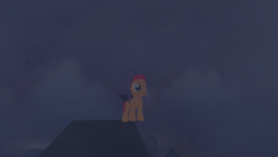 Size: 1920x1080 | Tagged: 3d, bat pony, clothes, costume, creepy, crypt, female, filly, foal, fog, grave, gravestone, graveyard, heartlands, legends of equestria, night, nightmare night, nightmare night costume, nightmarenightloe2017, night sky, roof, safe, scootaloo, screencap, sky, stars, video game
