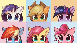 Size: 2976x1674 | Tagged: safe, anonymous editor, artist:mirroredsea, edit, applejack, fluttershy, pinkie pie, rainbow dash, rarity, twilight sparkle, earth pony, pegasus, pony, unicorn, blue background, blushing, bust, cowboy hat, cute, female, hat, looking at you, mane six, mare, multicolored hair, peeking, simple background, stetson, wallpaper, yellow background