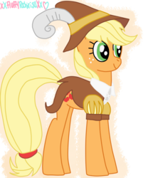 Size: 1024x1229 | Tagged: safe, artist:xxfluffypachirisuxx, applejack, smart cookie, pony, hearth's warming eve (episode), clothes, female, hat, mare, simple background, solo, transparent background