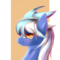 Size: 1000x1000 | Tagged: safe, artist:mercurial64, oc, oc only, oc:wind sail, bust, flirting, looking at you, portrait, simple background, solo