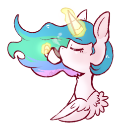 Size: 501x541 | Tagged: safe, artist:urbanqhoul, princess celestia, alicorn, pony, bust, drink, eyes closed, female, food, glowing horn, magic, mare, profile, simple background, solo, spread wings, tea, telekinesis, transparent background, wings