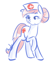 Size: 883x1000 | Tagged: safe, artist:lilliesinthegarden, nurse redheart, earth pony, pony, female, mare, raised hoof, simple background, solo, white background