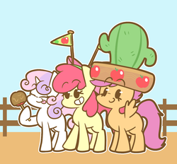 Size: 1039x965 | Tagged: safe, artist:typhwosion, apple bloom, scootaloo, sweetie belle, earth pony, pegasus, pony, unicorn, appleoosa's most wanted, cactus, cactus hat, cutie mark crusaders, female, filly, hat, smiling, spread wings, toffee apple, trio, wings