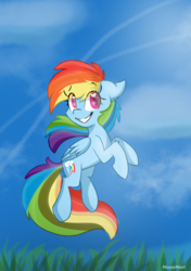 Size: 2456x3484 | Tagged: safe, artist:meowmavi, rainbow dash, pegasus, pony, cloud, female, floppy ears, flying, grass, heart eyes, mare, sky, smiling, solo, wingding eyes