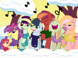 Size: 4096x3072 | Tagged: artist:kindheart525, earth pony, kindverse, magical lesbian spawn, nose in the air, oc, oc:acapella apple, oc:allegro jazz, oc:discovery, oc:honeycrisp, oc only, oc:pippin rose, oc:pristine melody, oc:somerset sour cider, offspring, parent:apple bloom, parent:applejack, parent:big macintosh, parent:cheerilee, parent:coloratura, parents:cheerimac, parents:rarajack, parents:sugarmac, parents:tenderbloom, parent:sugar belle, parent:tender taps, pony, safe, singing, unicorn