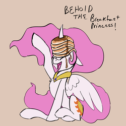 Size: 1280x1280 | Tagged: safe, artist:veesocks, princess celestia, alicorn, pony, 30 minute art challenge, chest fluff, curved horn, cute, cutelestia, dialogue, eyes closed, female, floppy ears, food, gray background, horn impalement, i'm pancake, majestic as fuck, mare, missing accessory, open mouth, pancakes, pink mane, pink-mane celestia, sillestia, silly, silly pony, simple background, sitting, smiling, solo, spread wings, syrup, wings