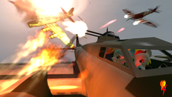 Size: 3840x2160   Tagged: safe, rainbow dash, spitfire, oc, oc:fiery lightning, 3d, air battle, b-17 flying fortress, damaged, engine, explosion, fanon, fighter, fire, plane, red eyes, red light, sky, turret, war
